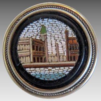 Antique Roman Micro Mosaic button, silver 800, 19th century