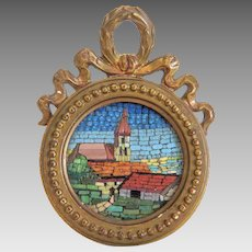 Antique Micro Mosaic in gilt wood frame, late 19th century