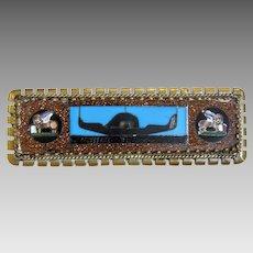 Antique Micro Mosaic brooch, silver 800,19th century