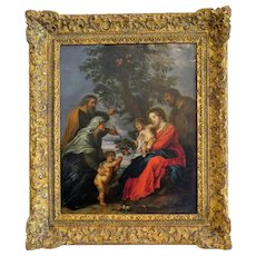 Antique painting depicting the Holy family, oil on copper, 18th century