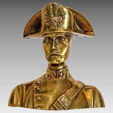 Vintage brass Carabiniere bust paperweight, mid-century