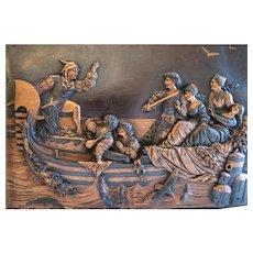 Antique Italian copper relief plaque , ca. 1900
