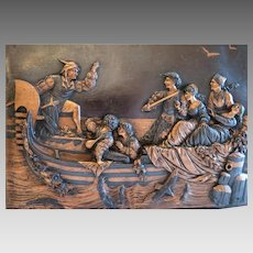 Antique Italian copper relief plaque , ca. 1900