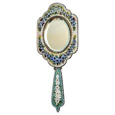Antique Micro Mosaic hand mirror, gilt metal, 19th century