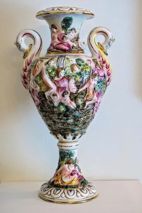 Capodimonte Porcelain Urn Hand Painted 20th Century Chateau