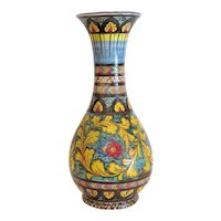 Vintage  Deruta pottery vase, hand painted and signed, ca. 1930