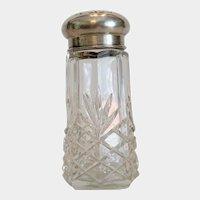 Antique lead crystal sugar shaker, silver lid, 19th century
