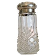 Antique lead crystal sugar shaker, silver lid, 19th century