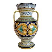 Vintage Deruta Ceramic Majolica vase, signed, ca.1970