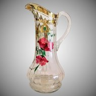 Antique hand painted crystal glass jug, ca. 1900