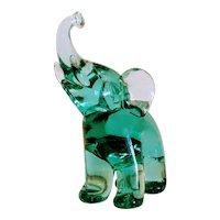 Archimede Seguso ( 1909-1999) green glass elephant, signed, ca.1970