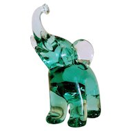 Archimede Seguso ( 1909-1999) green glass elephant, signed, ca.1970