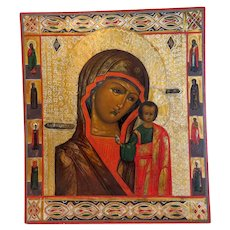 Antique Russian Icon of the Holy Virgin of Kazan, 19th century
