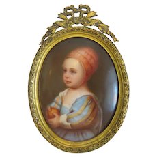 Antique porcelain miniature, gilt wood frame,19th century