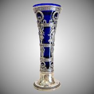 Antique French Cobalt blue glass and silver vase, 19th century