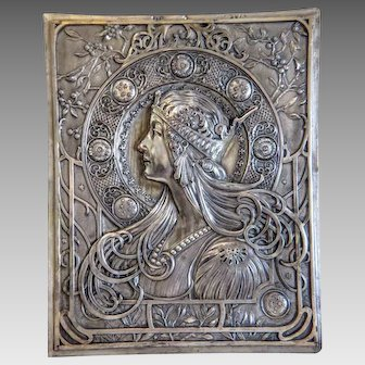 Antique silver plated relief plaque, ca. 1900