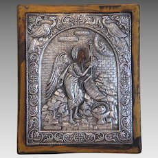 Antique Greek Icon depicting St. John, silver 950, 19th century