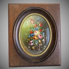 Antique flower painting, oil on canvas, 19th century