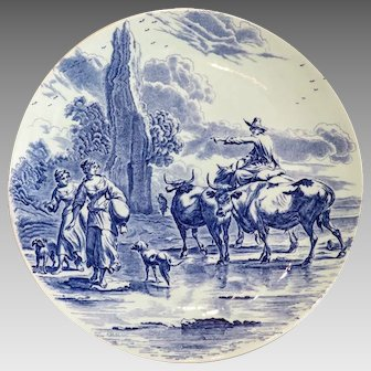 Delft blue and white porcelain plate, turn of the 20th century