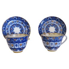 Russian Lomonosov porcelain tea cups and saucers, 1st half 20th century