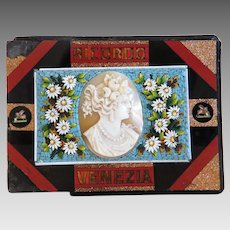 Antique Micro Mosaic paperweight with Cameo, Italy 19th century