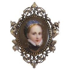 Antique brooch with porcelain miniature, 19th century