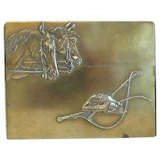 Antique brass cigarette box, 19th century