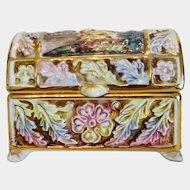 Italian Capodimonte box, hand painted, early 20th century