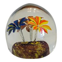 Antique Bohemian crystal glass paperweight, late 19th century
