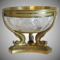 Antique French Gilt Bronze crystal glass bowl, 19th century