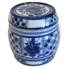 Russian Gzhel blue and white  caviar barrel,  20th century