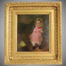 Antique painting of a little girl, oil on canvas, 19th century