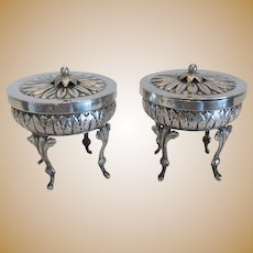 Antique silver salt cellars, hallmarked, early 19th century