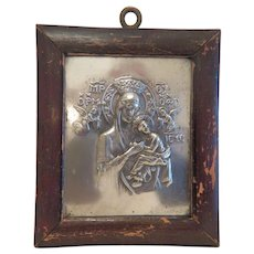 Antique silver plated Greek Icon, late 19th century