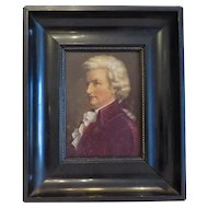 Antique portrait of Mozart, oil on wood, 19th century