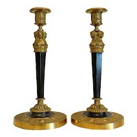 Antique gilt Bronze candle sticks, 19th century