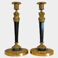 Antique gilt Bronze candle sticks, 19th century