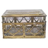 Antique crystal glass jewelry box, gilt metal, 19th century