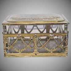 Antique crystal glass jewelry box, gilt metal, 19th century