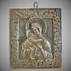 Antique Russian Icon depicting the Holy Mary of Kazan, 19th century