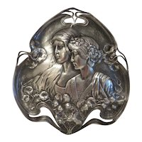 Art Nouveau silver plated wall plate, ca. 1900