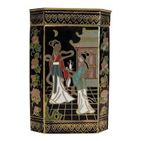 Vintage Cloisonne Japanese tea caddy, early 20th century