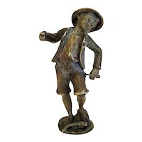 Antique Bronze figure of a fisher boy, 19th century