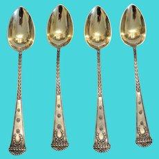 Antique Imperial Russian  silver tea spoons, ca. 1910