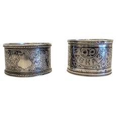 Two Russian silver napkin rings, turn o f 20th century