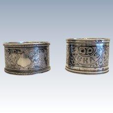 Two Russian silver napkin rings, turn o f 20th century