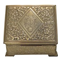 Antique gilt metal cigarette box, 19th century