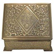 Antique gilt metal cigarette box, 19th century