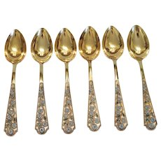 Russian Cloisonne gilt silver tea  spoons , 20th century.