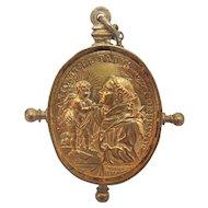 Antique gilt silver coin pendant, Italy, early 19th century